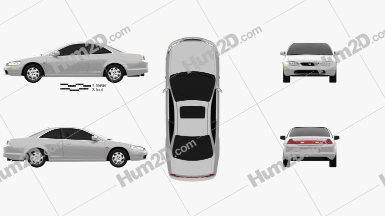 Honda Accord coupe 1998 Clipart Image
