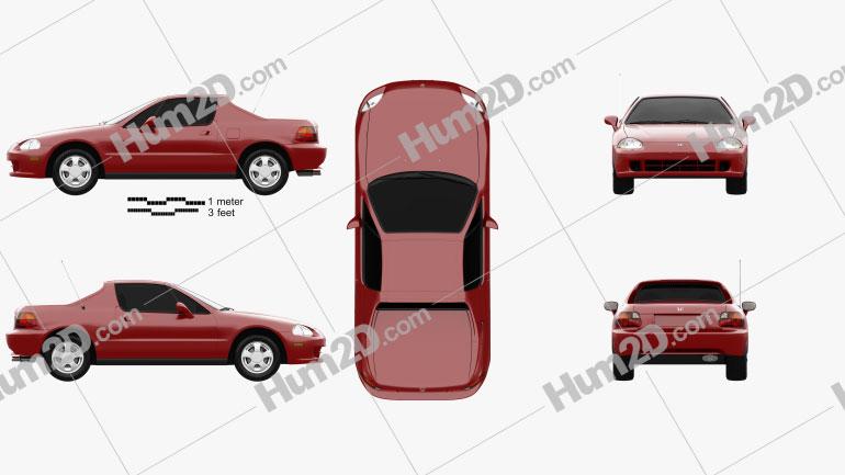 Honda Civic del Sol 1993 car clipart