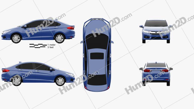 Honda City 2013 Clipart Image
