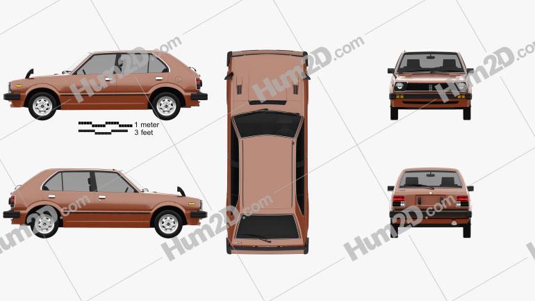Honda Civic 1979 car clipart