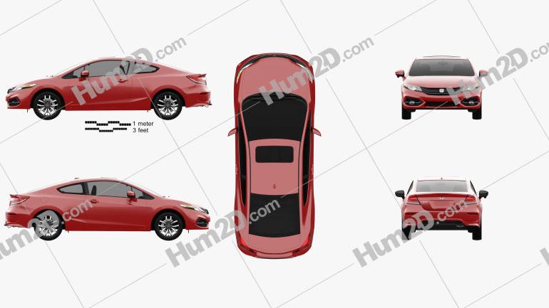 Honda Civic coupe 2014 car clipart