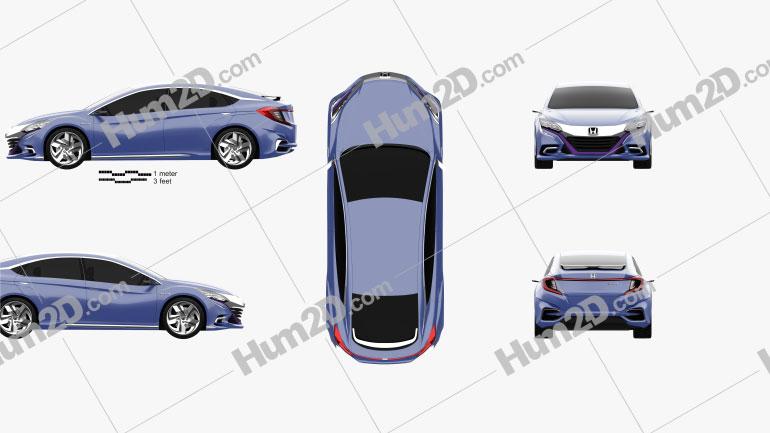 Honda B 2014 Clipart Image