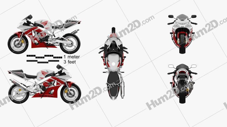Honda CBR929RR 2000 Clipart Image
