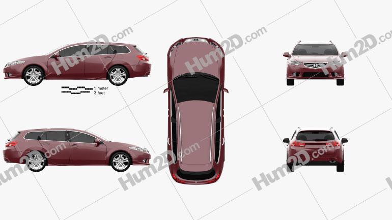 Honda Accord (CW) tourer Type S 2011 Clipart Image