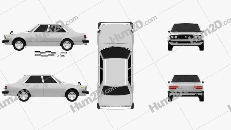 Honda Accord sedan 1977 Clipart Image