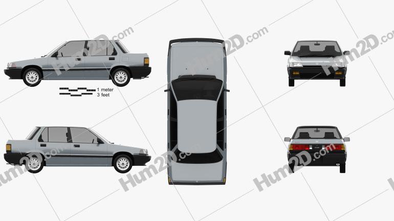 Honda Civic sedan 1983 car clipart