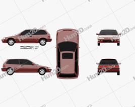 Honda Civic hatchback 1987 car clipart