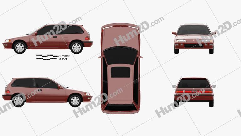 Honda Civic Schrägheck 1987 car clipart