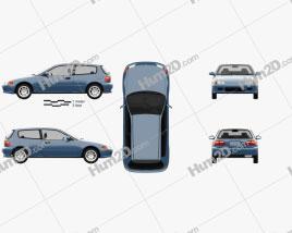 Honda Civic hatchback 1991 car clipart