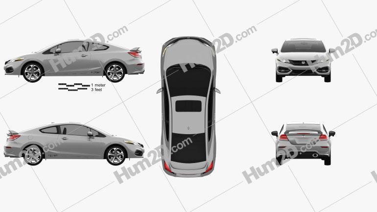 Honda Civic coupe Si 2014 car clipart