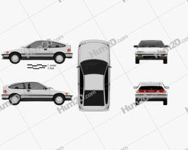 Honda Civic CRX 1988 car clipart