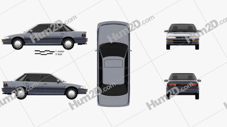 Honda Concerto (MA) sedan 1988 Clipart Image