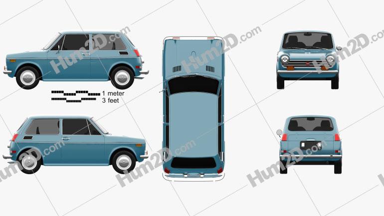 Honda N600 1970 Clipart Image