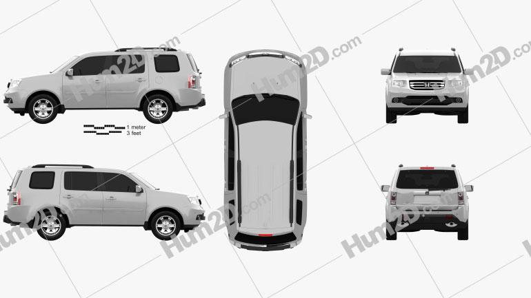 Honda Pilot (CIS) 2011 Clipart Image