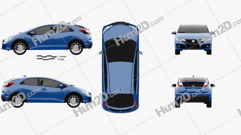 Honda Civic hatchback 2015 Clipart Image