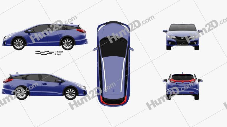 Honda Civic tourer 2015 car clipart