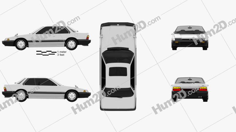 Honda Prelude 1983 car clipart