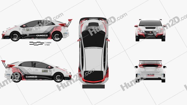 Honda Civic Type-R TCR 2015 Clipart Image