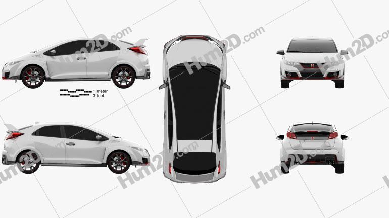 Honda Civic Type-R hatchback 2015 car clipart