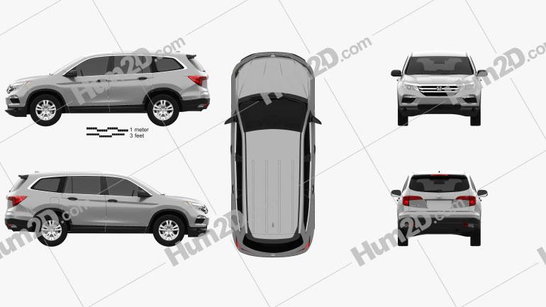 Honda Pilot LX 2016 Clipart Image