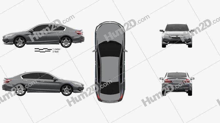Honda Accord Touring 2016 Clipart Image
