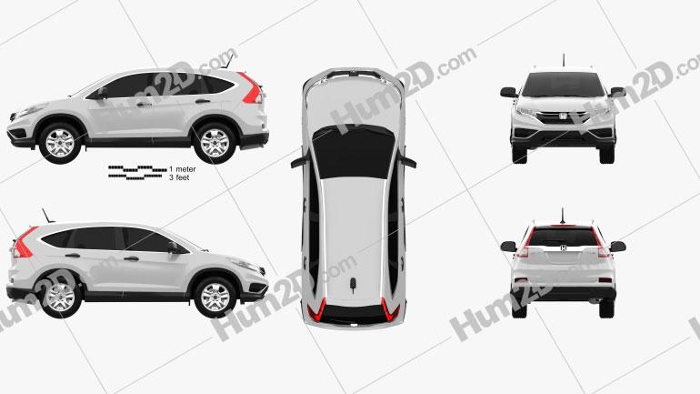 Honda CR-V LX 2015 Clipart Image