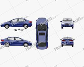 Honda City with HQ interior 2014 car clipart