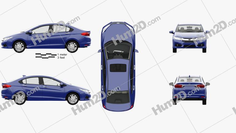 Honda City with HQ interior 2014 Clipart Image