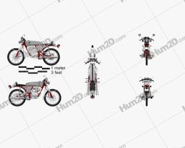 Honda CB50V Dream 50 1997 Motorcycle clipart