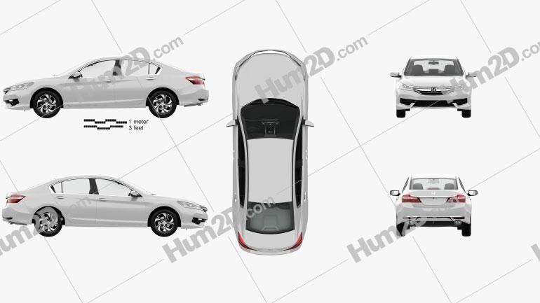 Honda Accord LX with HQ interior 2016 Clipart Image
