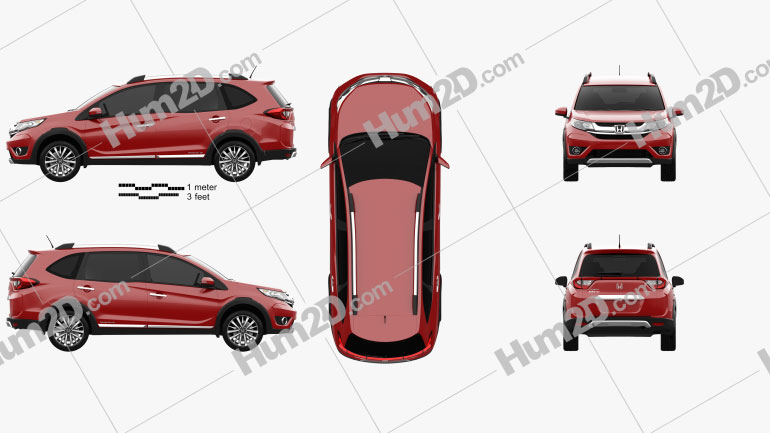 Honda BR-V 2016 Clipart Image