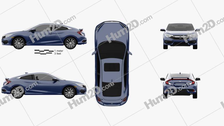 Honda Civic coupe 2016 car clipart