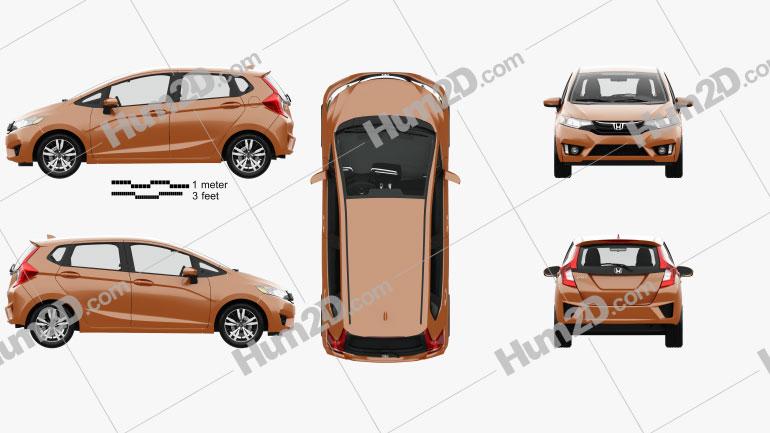 Honda Jazz with HQ interior 2016 car clipart