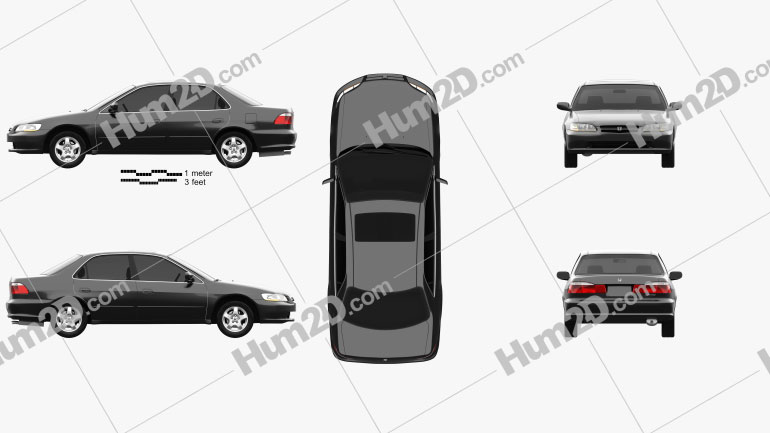 Honda Accord EX (US) 1998 Clipart Image