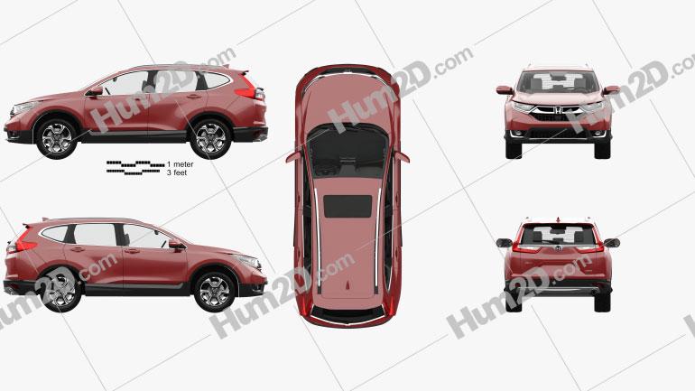 Honda CR-V Touring with HQ interior 2017 Clipart Image