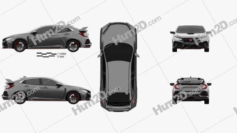 Honda Civic Type R Prototype 5-door hatchback 2016 Clipart Image