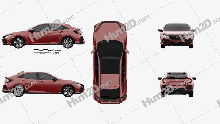 Honda Civic Sport hatchback 2016 car clipart