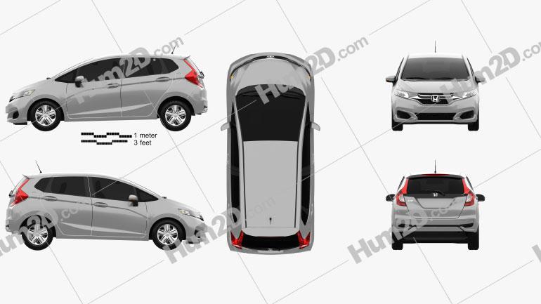 Honda Fit LX 2017 car clipart