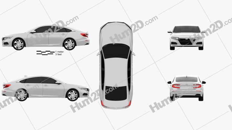 Honda Accord LX US-spec sedan 2018 Clipart Image