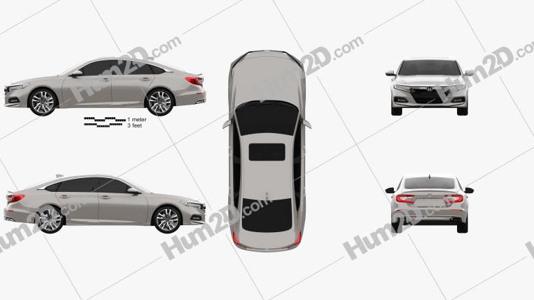 Honda Accord Touring Hybrid US-spec sedan 2018 Clipart Image