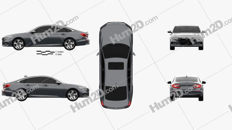 Honda Accord Touring US-spec sedan 2018 car clipart