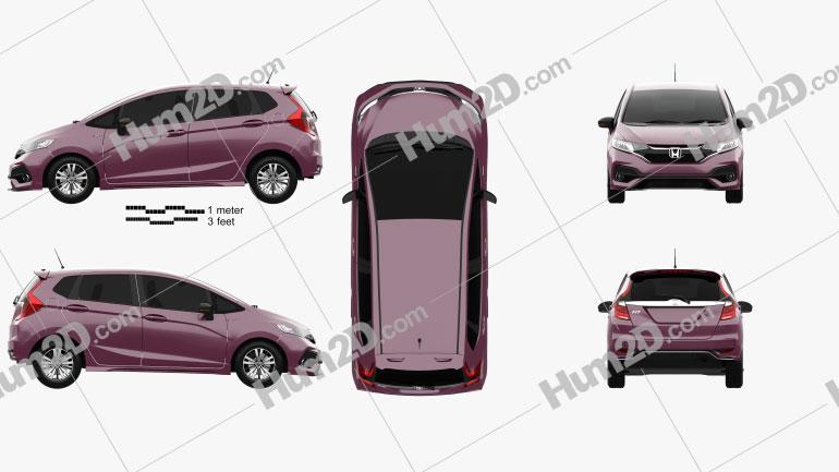 Honda Fit Hybrid S JP-spec 2017 car clipart