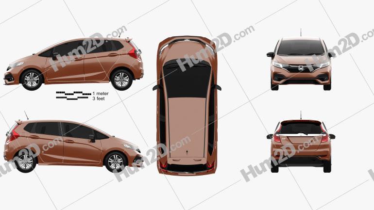 Honda Fit RS JP-spec 2017 car clipart