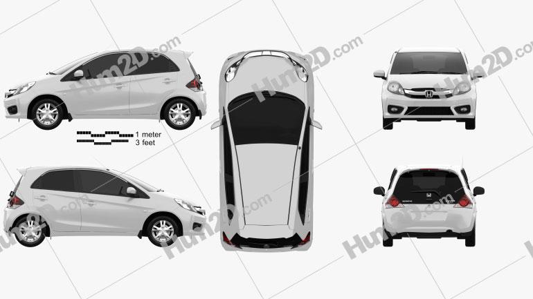 Honda Brio hatchback 2016 car clipart