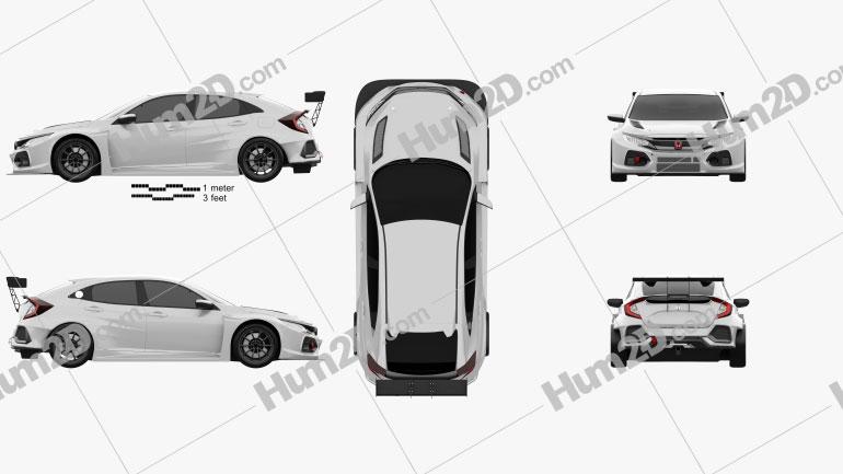 Honda Civic TCR hatchback 2018 Clipart Image