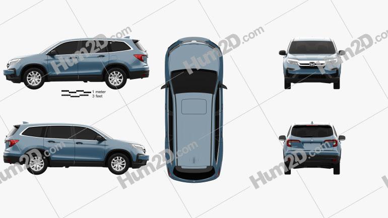 Honda Pilot LX 2019 Clipart Image