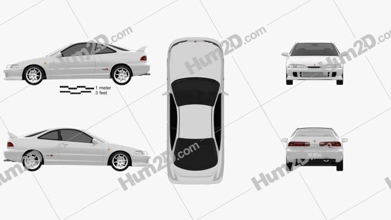 Honda Integra Type-R coupe 1995 car clipart