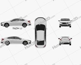 Honda Civic LX sedan 2019 car clipart