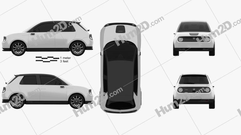 Honda e 2019 car clipart