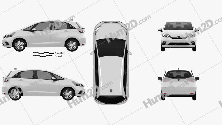 Honda Jazz e:HEV 2020 car clipart